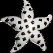 SALE Rare Crown Trifari White and Black Dimensional Starfish Brooch