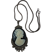 SALE 925 & Marcasite Black & White Cameo Pendant Necklace