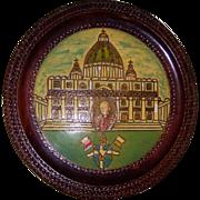 SALE Zakopane Poland Carved Pope John Paul 2nd Enameled Plaque