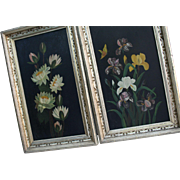 SALE Floral Antique Still Life Oil Paintings in Gilt Frames