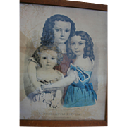SALE Mother's Day Sale! Very Rare Currier & Ives Three Little Sisters 1862 Hand Colored ...