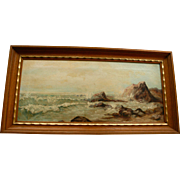 Antique Oil Painting California School Coastal Scene