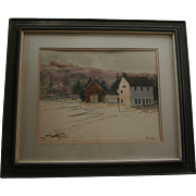 "SALE Robert Frost Farm 1973 Derry New Hampshire ""Winter Barns"" Watercolor by Al Bark"