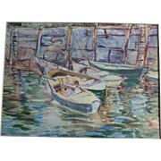 SALE Rockport MA Original Watercolor Painting Harbour Scene Listed Artist