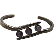 SALE Gorgeous 925 Mexico Sterling Opalescent Stone Cuff Bracelet