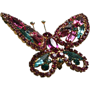 SALE Book Piece Juliana DeLizza & Elster Pink Aqua Blue Rhinestone Butterfly Brooch