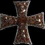 SALE Signed Weiss Beautiful Rhinestone Maltese Cross Brooch