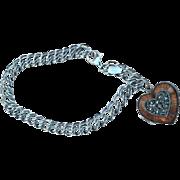 SALE Vintage 925 Judith Jack Charm Bracelet Double Link Enamel Heart Locket