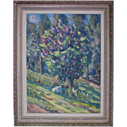 SALE Springtime Treed Landscape by Janis Silins (Listed Latvian 1896-1992) Original Oil ...