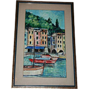 SALE Portofino Italy Seascape Oil Painting Framed Under Glass