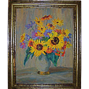 Sunflowers in Vase Original Oil by Listed Artist Klara Tilmetz-Merk