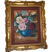 SALE Impressionist Signed Maxwell Still Life Oil Painting in Gilt Wood Frame