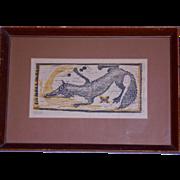 """SOLD Helen Siegl Original Signed Woodcut Fox """"Renard"""""""