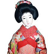 "Japanese woman doll in original oriental kimono outfit 16"" tall"