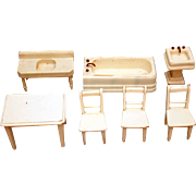 Wood doll house furniture painted off white