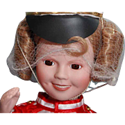 """Shirley Temple doll porcelain 14"""" Danbury Mint Poor Little Rich Girl, very good condition"""
