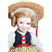 "SALE Shirley Temple doll porcelain 14"" Danbury Mint From 'Heidi', very good condition, or"