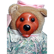 """SALE Robert Raikes Courtney 12"""" Bear 1990 Signed by Robert Raikes Holds Kevin Roth tape,"""