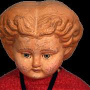 """SALE Papier Mache Composition German antique lady doll 26"""" tall, blonde hair, antique clo"""