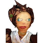 "Cloth folk art doll 17-1/2"" tall Circa 1930-1940's. cover to be ..."