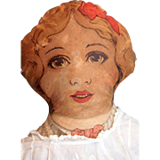 """All cloth lithograph cut and sew girl doll 24"""" tall from early 1900s with added ..."""