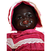 "Kammer and Reinhardt rare black character painted bisque baby doll with cloth body 18"" ta"