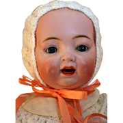 """Morimura Brothers bisque character baby doll 18"""" tall, won 2nd place ribbon at UFDC show"""