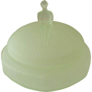 REDUCED Art Deco Frosted Green Glass Powder Dish with Bather