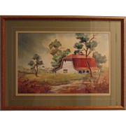 Original Watercolor of a Red Roofed Barn signed Roberts