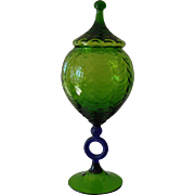 Cobalt and Green Glass Oversized Lidded Compote
