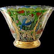 Royo Signed Enamel Decorated Glass Bowl