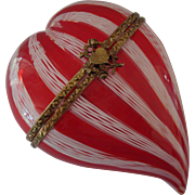 Murano Glass Hinged Heart Shaped Box