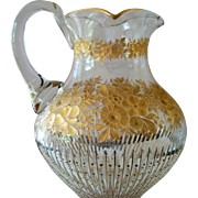 Prism Motif Cur Glass Water Pitcher with Gilding