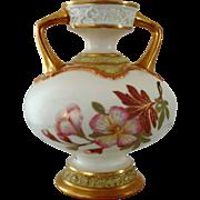 Circa 1887 Royal Worcester Porcelain Two Handled Vase