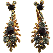 Signed BSK Ruby Red and Black Diamond Colored Rhinestone Drop Earrings - 1950s