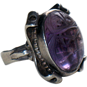Arts & Crafts Sterling Silver Amethyst Scarab Ring