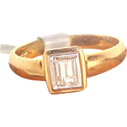 Delicate .36ct Emerald Cut Diamond Solid 14K Y Gold Solitaire Ring Fine Jewelry