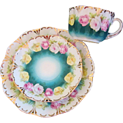 SOLD RS PRUSSIA DINNERWARE MULTI-FLORAL DEEP TEAL TRIM GOLD GILT PLATE, CUP, SAUCER