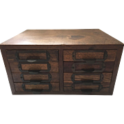 SALE Antique Optical File Drawers Box Cabinet