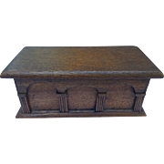 Small Antique Oak Victorian Box Ornate Pillar Design