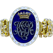 English Victorian Blue White Enamel Diamond Monogrammed Expandable 15K Gold Bracelet