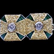 Estate Men's Heavy 18K Gold Cufflinks with Green Enamel Corners and Diamonds