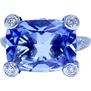 Estate Judith Ripka 18K White Gold Ring with Light Blue Topaz and Diamonds