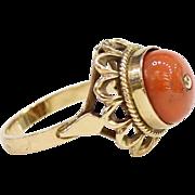 Victorian Natural Coral 14K Gold Ring