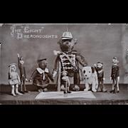 A rare antique Teddy Bear postcard 'The Eight Dreadnoughts' featuring Steiff teddy bears and .