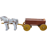 Rare English folk art carved wooden horse drawn farm waggon, early 20th century