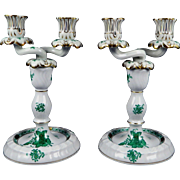 HEREND CHINESE BOUQUET GREEN Pair of 2 Arm Candle Stick Holders