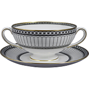 WEDGWOOD COLONNADE BLACK Leigh Shape Cream Soup Cup (Bowl) & Saucer Set