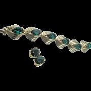 SALE Vintage Signed Schiaparelli Emerald Rhinestone Gold Plated Bracelet and Earrings