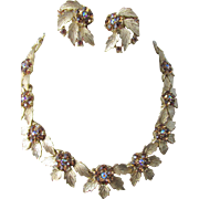 Lisner Gold Plated Leaf Rhinestone Necklace and Earring Set